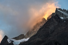 Altar of Light (courtney_meier) Tags: chile morning sky cloud patagonia snow mountains clouds sunrise morninglight glacier andes torresdelpaine peaks andesmountains fierysky southernandes mountainlight