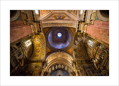 Rome...up (Zino2009 (bob van den berg)) Tags: old travel light red vacation italy holiday rome color roma church up painting gold one early spring high catholic cross walk perspective ceiling christian marble rom renaissance fotoshoot baroc bobvandenberg classisism zino2009