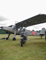Storch and BSA M20 (Beth Hartle Photographs2013) Tags: cars vintage wwii 1940 historic motorbike athome reenactment aircrafts storch shuttleworthcollection historicaircraft historicbikes fieslerstorch bsam20