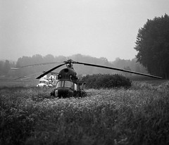Helicopters in fog (stephen.bjrck) Tags: white black mamiya film fog analog kodak trix apo 150 helicopter 400 medium format 6x7 rodinal 210 rz67 sekor