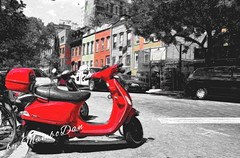 Time to get your red scooter (Mambo'Dan) Tags: photopainting red colorsplash digitalart brooklyn digitalphotopainting scooter