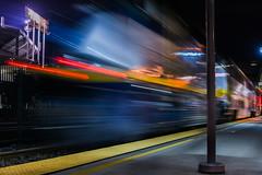 departing capitol corridor train #548 (pbo31) Tags: california motion black color station june night train dark oakland spring nikon platform rail motionblur amtrak bayarea commuter coliseum eastbay alamedacounty capitolcorridor 2016 lightstream boury pbo31 d810