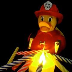 fireman freddie at the ready (muffett68 ) Tags: birthday fire candles celebrations challenge firepit lightanddark odc ansh titfthursday