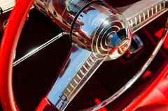 Sun worshipping behind the wheel (GmanViz) Tags: color detail ford 1955 car nikon automobile interior chrome thunderbird steeringwheel gmanviz d7000