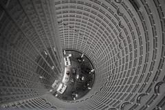 the atrium (gavingmb) Tags: china travel blackandwhite white black travelling art tourism monochrome architecture spiral 50mm prime mono hotel nikon asia shanghai balcony vertigo tourist lobby indoors  f18 fx atrium corkscrew jinmao jinmaotower internal d610 adriansmith primelens travelphotograhy