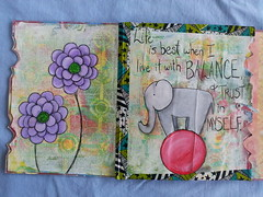 Art journaling in the journal my mom made me. (leisannesylvesterjarvis) Tags: elephant painting whimsy inspirational artjournal