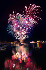 Mazey Eve Fireworks (APJenkin) Tags: red england color colour reflection festival colorful cornwall fireworks harbour explosion colourful penzance mazey golowan mazeyday