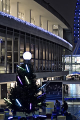 Modernist Christmas (The New Motive Power) Tags: christmas city blue windows light shadow people urban building tree london thames architecture night river dark evening glow bright display dusk centre modernism southbank busy late activity iconic royalfestivalhall canon7d
