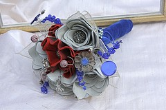 Red, White and Leather Bouquet3 (TussyMussyBouquets) Tags: vintage contemporary jewellery bouquet weddingbouquet silverflowers fabricbouquet broochbouquet artificialbouquet