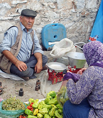 The vegetable seller (Gill Stafford) Tags: man color colour turkey image market vegetable photograph seller gillstafford
