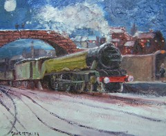 The Flying Scotsman my painting (Captain Wakefield) Tags: bridge snow art station train painting flying cityscape nightscape steam oil british impressionist scotsman steamstrain samuelburton