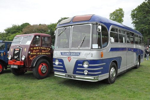 "1955 Commer TS3 Beadle Bodied Island Queen Isle of Wight Coach WKJ 787 & 1941 GV 8092 Foden STG/5 Timber Tractor  ""The Lark"" Gardner Diesel Engine Reynolds Livery - Fawley Hill Steam & Vintage Day 18 May 2013"