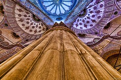 Pillar at the Blue Mosque (skumar0108) Tags: blue turkey europe pentax interior istanbul mosque hues bluemosque epic hdr sultanahmet sultanahmed pentaxk30
