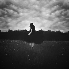 Lillian. 37/52 (shelby gill) Tags: world sky blackandwhite cloud white selfportrait black art field clouds dark moody escape dismal fine skirt shelby ann hunter wildflowers dear gill imaginary epic lillian fineartphotography imaginaryworld thedearhunter shelbygill shelbyanngill
