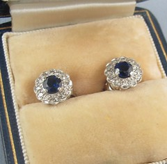 Ruby Lane    Diminutive Blue Sapphire & Diamond Earrings- 18K Early 20th (WhereVintageIsKing) Tags: vintage antique antiques artisan vintageclothing antiquefurniture vintagejewelry vintagefashion antiquejewelry rubylane