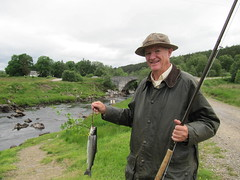 Harley Metcalf 111 from Mississippi had a nice Grilse yesterday, but today this Finnock is all that could be persuaded to come to the fly, even with a lot of hard work, skill and determination the Salmon were proving to be very illusive.