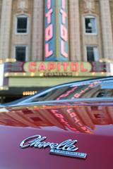 A Night Out In Flint (Flint Foto Factory) Tags: auto show county city cruise red summer urban black reflection building classic chevrolet hardtop home beautiful car sign festival vintage emblem marquee town automobile gm theater neon theatre bokeh dusk muscle top michigan letters platform vinyl august chevelle historic capitol chevy american trunk birthplace 1968 annual flint coupe genesee lid abody generalmotors intermediate midsize 2door 2013 worldcars backtothebricks