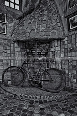 Vintage Bicycle BW (Susan Candelario) Tags: old building castle art castles abandoned bike bicycle wheel architecture vintage bicycling ride unitedstates architecturaldetail pennsylvania antique wheels structures bikes palace architectural bicycles nostalgia riding tiles worn doylestown antiques recreation concept activity conceptual yesterday past rider eclectic abandonment byzantine timeless oldfashioned activities cyclers steampunk cycler architecturaldetails outdoorrecreation sportsrecreation fonthillcastle susancandelario