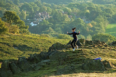 Jump Now (Jamarem) Tags: trees woman landscape fun jumping rocks leicestershire leaping bradgatepark 18200mm canon50d