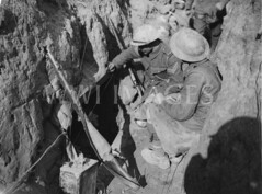 WWI0004B1 (ww1images) Tags: soldier wire kilt telephone rifle helmet can trench cover british shelter dugout troops corporal sandbag allied funkhole petroltin