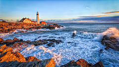 A Splash of Sun (Tom Whitney Photography) Tags: usa lighthouse sunrise us all unitedstates maine places northamerica 169 phl capeelizabeth portlandhead xpress gains allxpressus
