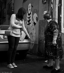 It was an old guy with a beard in a red suite (Neil. Moralee) Tags: neilmoralee red uite old guy man suite woman girl point stare rubbish street candid mature art slippers nikon d7100 neil moralee 2013 santa mess xmas christmas