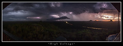 "Glass House Mountains - ""High Voltage"" (jasoncstarr) Tags: longexposure sunset panorama storm canon landscape panoramic lightning glasshousemountains storms thunder 60d canoneos60d"