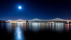 Moon Over That Other SF Bridge (Bryan Nabong) Tags: sanfrancisco california moon northerncalifornia night unitedstates time fullmoon baybridge northamerica lunar moonphases pier7 baybridgelights thatothersfbridge