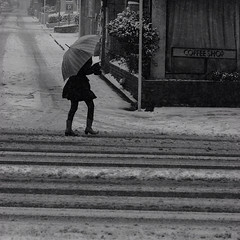 Snowing (s_inagaki) Tags: street blackandwhite snow umbrella walking tokyo snowing