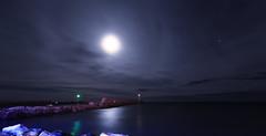 Jetée dans le nuit (Amanclos) Tags: longexposure blue panorama moon lighthouse france night clouds lights wind cloudy windy fullmoon nuages aude nuit phare nuageux longueexposition portlanouvelle efs1022 canoneos700d