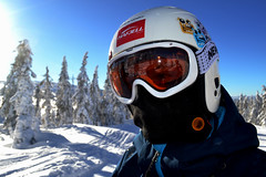 Andy (pauldevaney) Tags: winter portrait sun snow ski colour reflection 3d skiing goggles setting