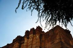 """梅黑兰格尔堡(Meherangarh Fort)意为""""宏伟的堡垒"""",原是太阳城堡的意思,建于1459年,屹立于125米高的巨崖之上,城高三十米,气势恢宏,宛若天上宫殿,俯瞰蓝城,与乌迈巴哈旺皇宫遥遥相望。建成后历经七代王公(这从古堡内的七道城门可见端倪)不断的加固扩建才成为印度规模最大的城堡之一。"""