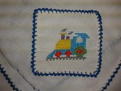 Fralda de Boca - Trenzinho F005 (SaluArts) Tags: de pano cruz infantil beb boca ponto paninho fralda fraldinha enxoval