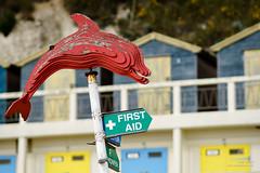 Dolphin (cybertect) Tags: beach sign kent dolphin beachhut firstaid broadstairs vikingbay sonya7 canonfd135mmf20