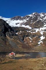 Lake gvatnet, Lofoten, Norway (lunat1k) Tags: blue red sky house mountain lake snow norway islands spring melting warm sunny arctic polar lofoten nordland moskenes agvatnet
