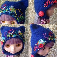 The Folklore Kitty Helmet: We Love Rainbows (Euro_Trash) Tags: blue red felted hearts rainbow helmet knit website button com embroidered embellished eurotrash kittyhelmet handmadeforblythe