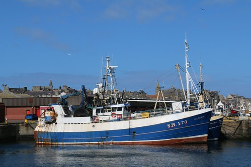 18th April 2016. Maggie M SH170 and Demarus in Fraserburgh Harbour, Aberdeenshire, Scotland.