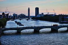 River Thames (Albert Jafar) Tags: bridge people building river boats dusk streetlights horizon ngc southbank cranes riverthames doubledeckerbus westminsterbridge parliamenthouse lambethbridge photographerswharf stgeorgewharftower