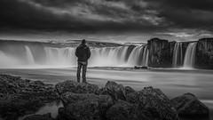 Amongst The Gods  - Goafoss Iceland (Jarrad.) Tags: longexposure travel bw landscape blackwhite waterfall iceland nikon selfie godafoss jaymarksimages
