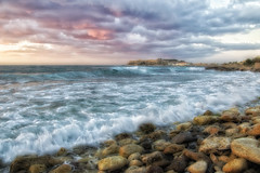 Sunset (Theophilos) Tags: sunset sea sky clouds rocks crete fortezza    retymno