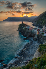 Sunset on Vernazza, Cinque Terre, Italy (margaux1016) Tags: travel light sunset sea italy colors landscape nikon village cinqueterre vernazza hdr holydays bracketing