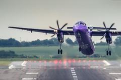 G-PRPC - Dash8 crosswind at BHX (deltic17) Tags: plane canon airport birmingham aircraft wm runway westmidlands propellor dash8 bombardier birminghamairport crosswind flybe q400 bhx sigma50500mm