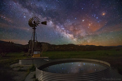 "Milky Way over windmill (IronRodArt - Royce Bair (""Star Shooter"")) Tags: ranch mars windmill stars utah nightscape galaxy nightsky universe milkyway starrynightsky"