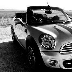 Beautiful sunny day, so my baby was allowed out to play, love it!! (Sue_Shaw) Tags: blackandwhite bw monochrome car convertible mini transportation softtop iphone6