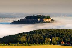 Fort Knigstein (redfurwolf) Tags: morning mist mountain fog sunrise germany europe fort saxony festung schsischeschweiz knigstein saxonswitzerland sonyalpha redfurwolf