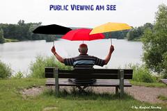 PUBLIC VIEWING Platzreservierung (manfredkirschey) Tags: public bank poet em viewing armer schirme fusball schirm sussball