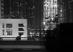 the worker ant in big city jungle (Roman Chekhlov) Tags: street city bw night worker
