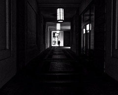 A Gentleman vanishes (floressas.desesseintes) Tags: light shadow man berlin silhouette contrast licht potsdamerplatz mann kontrast schatten berlinmitte schwarzweis streetfotografie berlinmall