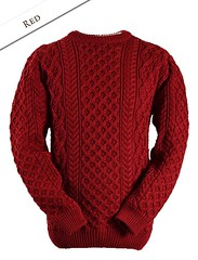 Unisex RED Blasket Aran Sweater (Mytwist) Tags: red hot classic wool fashion fetish cozy sweater fisherman craft style mens passion knitted unisex aran thick timeless pullover bulky blasket laine vouge cabled webfound aransweater handgestrickt mytwist aranjumper grobstrick