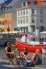 Copenhagen, Nyhavn (Thomas Roland) Tags: denmark danmark kbenhavn copenhagen summer sommer havn harbour harbourfront red rd ship skib nyhavn relax sun girls women